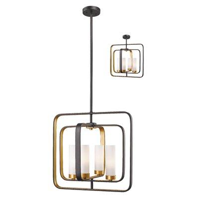Mercury Row Iniguez 4 Light Unique Square Rectangle Chandelier Glass Pendant Light Pendant Light Square Pendant Lighting