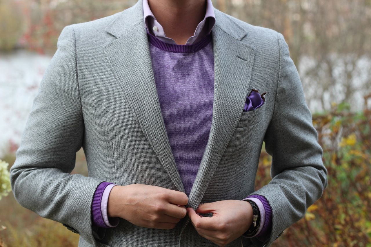 Purple and grey - button down shirt, light wool sweater, sport coat with pocket square.