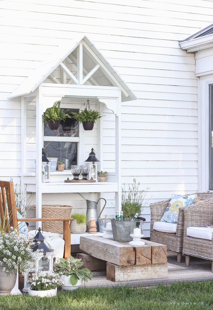 This Stunning Potting Bench Is Full Of Vintage Charm And Perfect For Entertaining On A Deck Or Patio Get The Tutorial At LoveGrowsWild