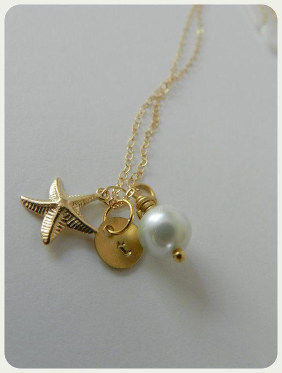 Nautical necklace Bridesmaid 14k gold by BipAndBop on Etsy 3000