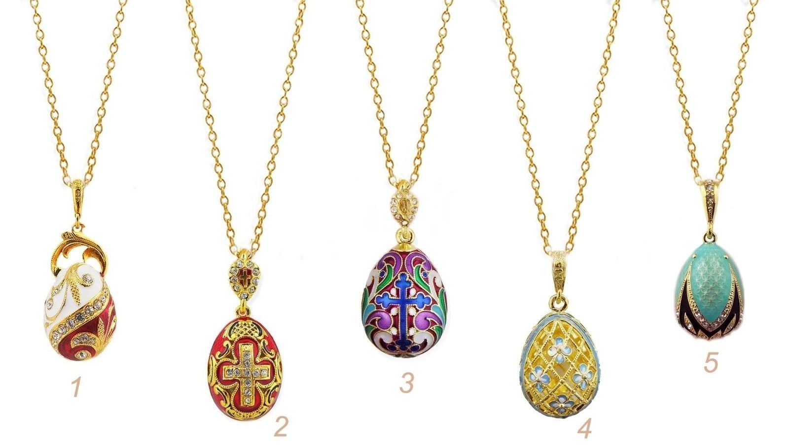SET OF 5 Sterling Silver Gold Plated Egg Pendants Cross Enameled Chains Gift WOW AU $847.96