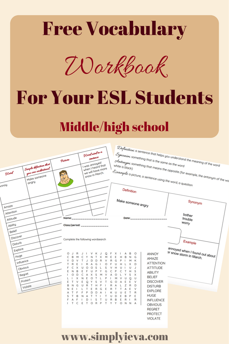 Free Vocabulary Workbook for ESL Students | High school, Middle ...