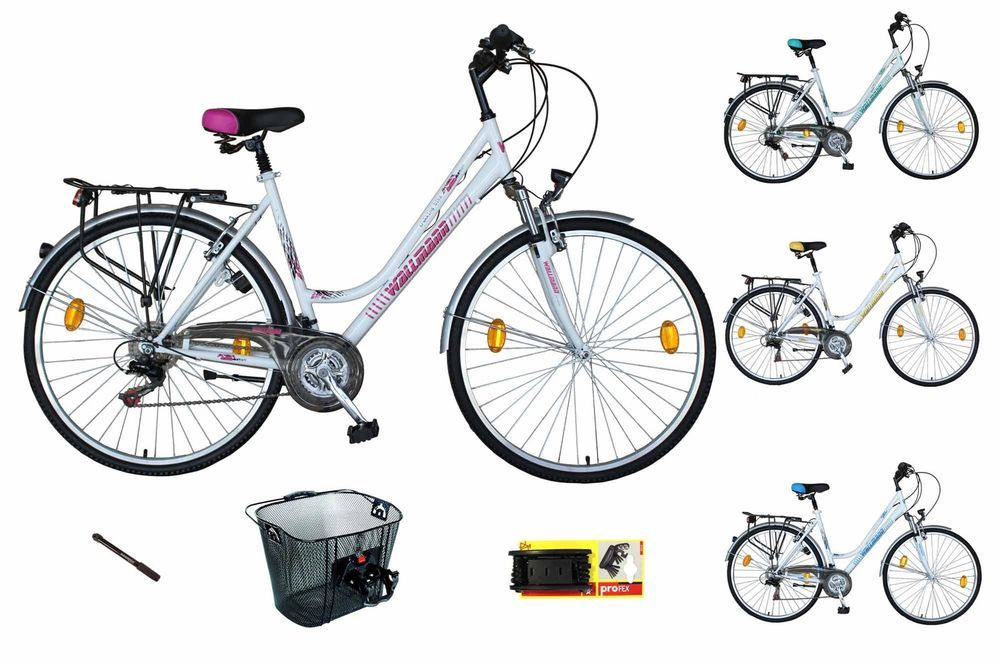 WBT121 Fahrrad 21 Gang Shimano Damenrad Federgabel Korb Werkzeug - bosch küchenmaschine profi 67