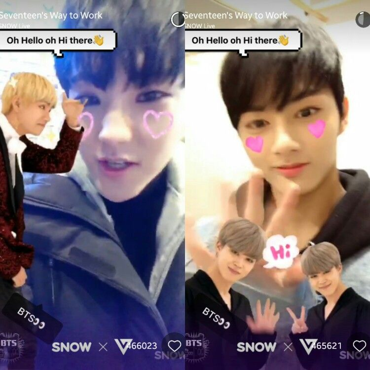 Bts X Seventeen Hoshi And Jun Used The New Bts Stickers Of V