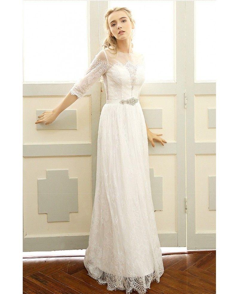 Beach boho wedding dress with half sleeves illusion high