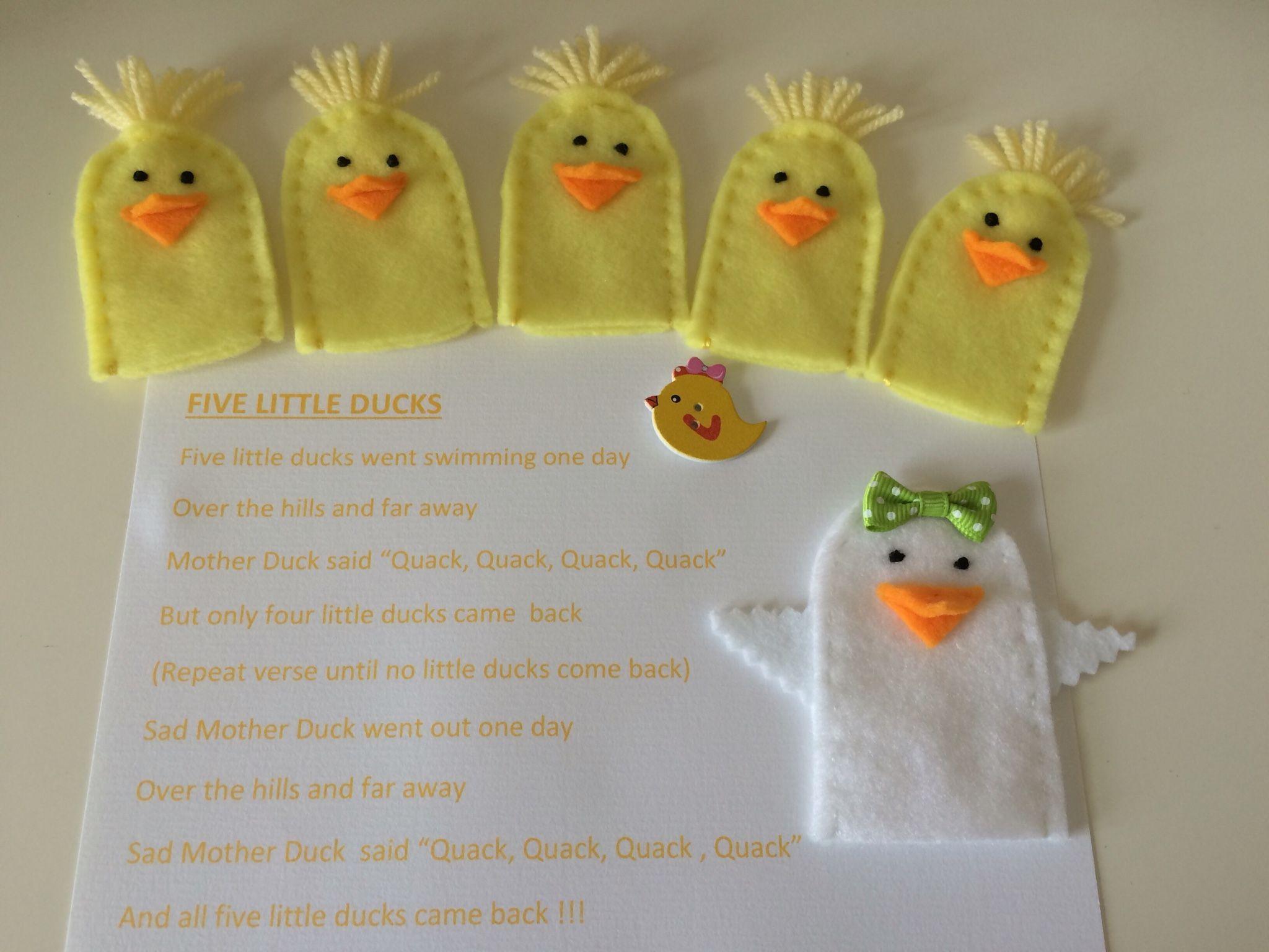 Hand Made Felt Finger Puppet Set Five Little Ducks