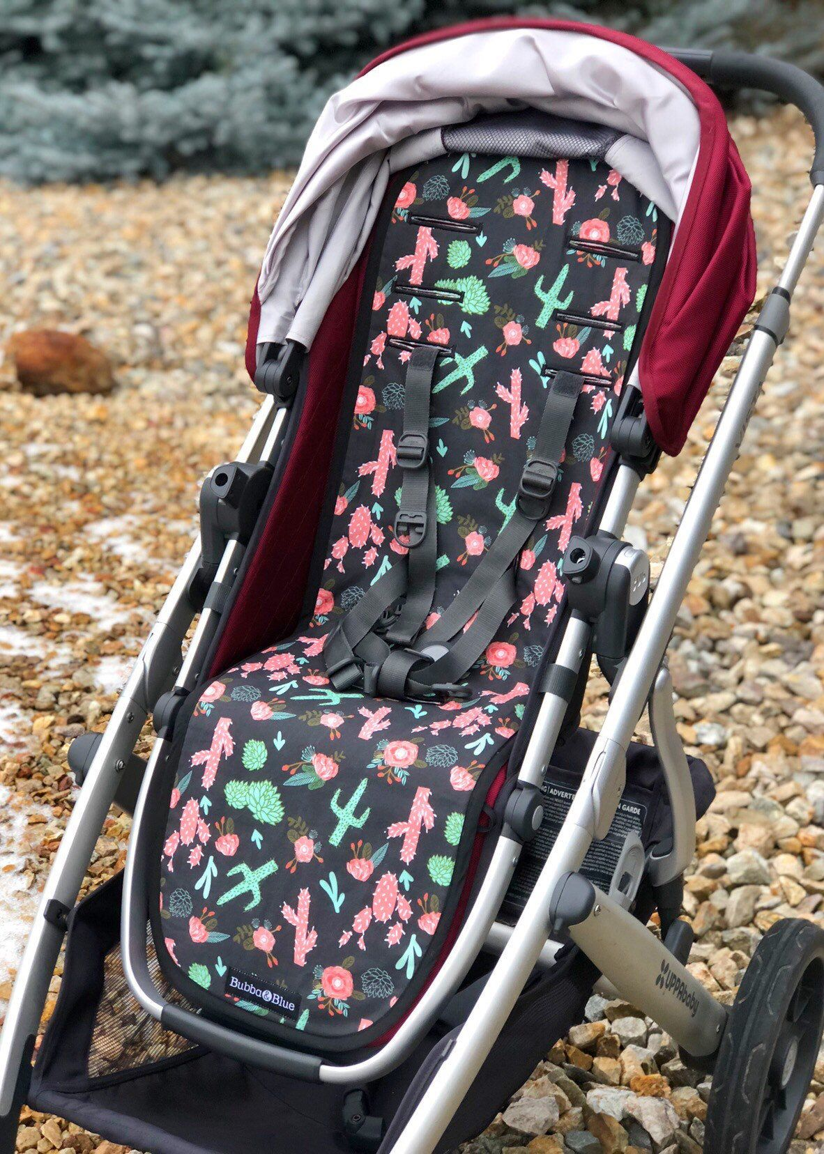 Cactus Floral Valco Snap 3 Stroller Liner Strap Pads With