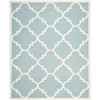 Safavieh Hand Woven Moroccan Dhurrie Light Blue Wool Rug (9u0027 X ...