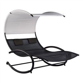 balancelle duo en acier et textil ne 190x140cm h178cm noir. Black Bedroom Furniture Sets. Home Design Ideas