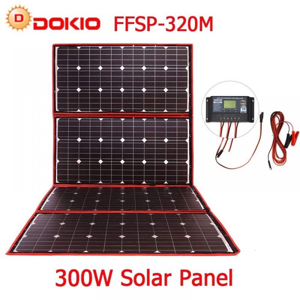 Dokio 300w 18v Flexible Foldable Solar Panel Hiqh Quality Portable Solar Panel China For Camping Boat Rv T Solar Panels Portable Solar Panels Best Solar Panels