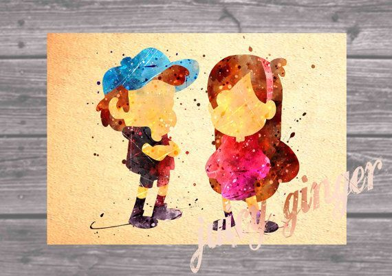 Gravity Falls Poster Dipper and Mabel Watercolor Home Decor
