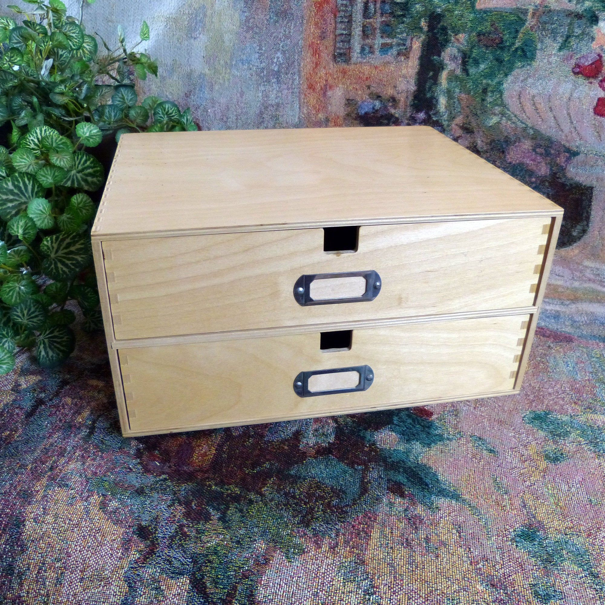 Office Paper Letter Box With Two Drawers Natural Wood Office Paper Letter Paper Letter Box