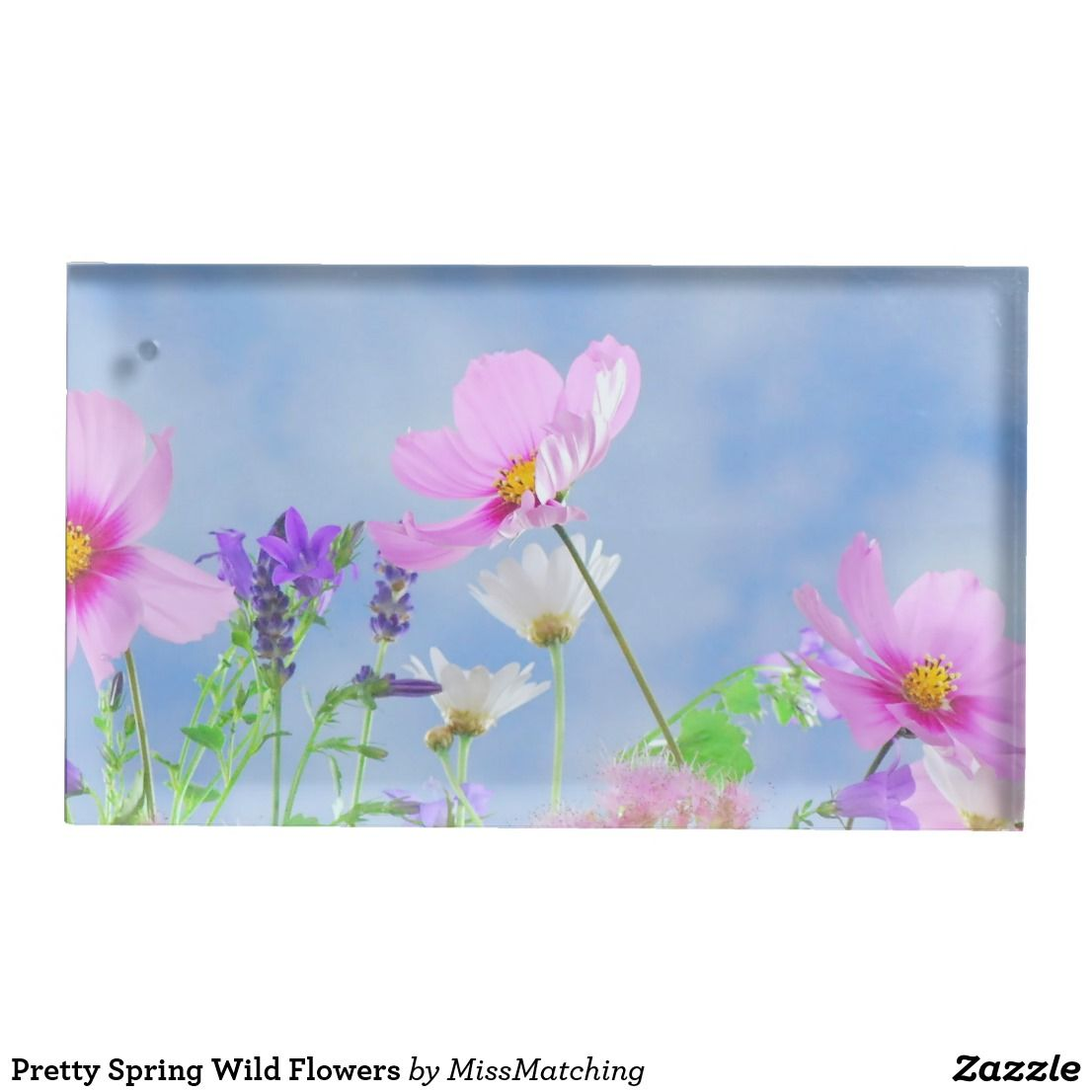 Pretty spring wild flowers table card holder