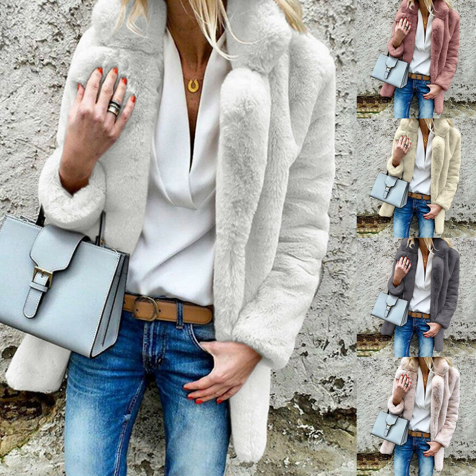Women Fluffy Faux Fur Winter Warm Coat Parka Lapel Thick Solid Cardigan Overcoat