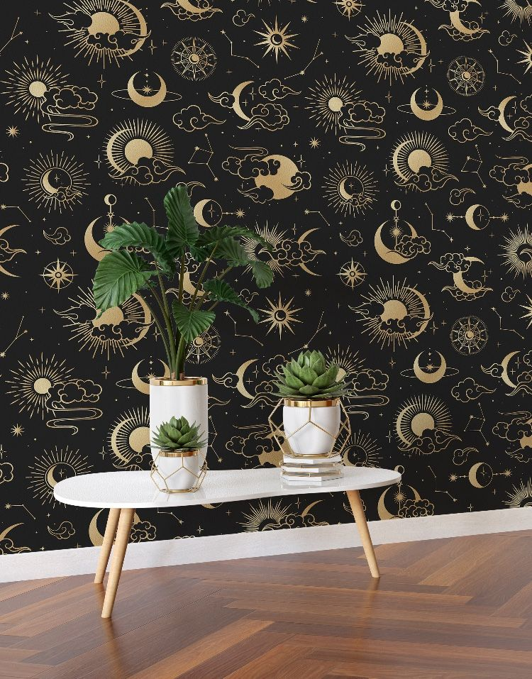 Astronomy Pattern Peel And Stick Wallpaper Stars Sun Moon And Cloud Removable Wall Mural 6208 Removable Wall Murals Moon Wall Decal Wall Murals