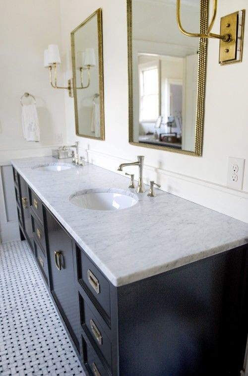 Photo of vanity, mix of finishes, hardware, lights and mirrors,  #bathroomfixturesmixedmetals #Finishe…