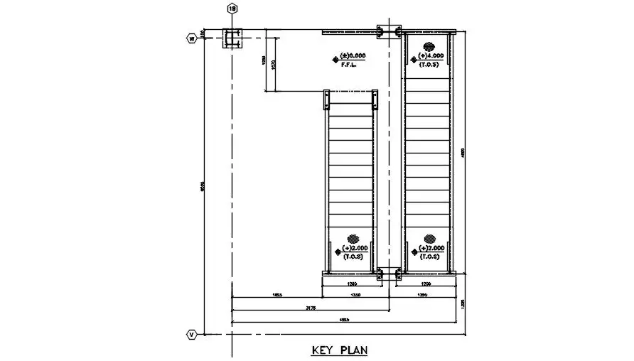 The Key Plan Of Staircase Flight Are Given In This Autocad Dwg Drawing Sectional Details Are Clearly Given In This Drawing File