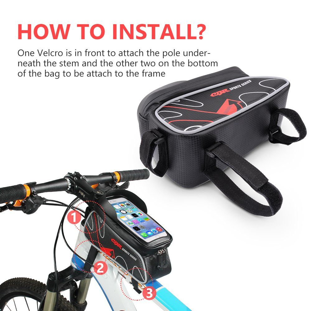 Beusoft Top Tube Front Frame Bike Bag Waterproof Touch Screen