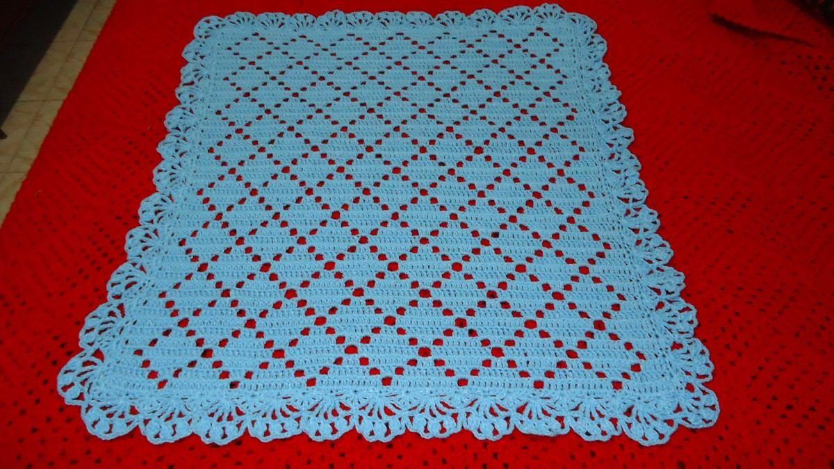 Mantilla manta de lana para beb en crochet 250 00 en - Mantas de crochet paso a paso ...
