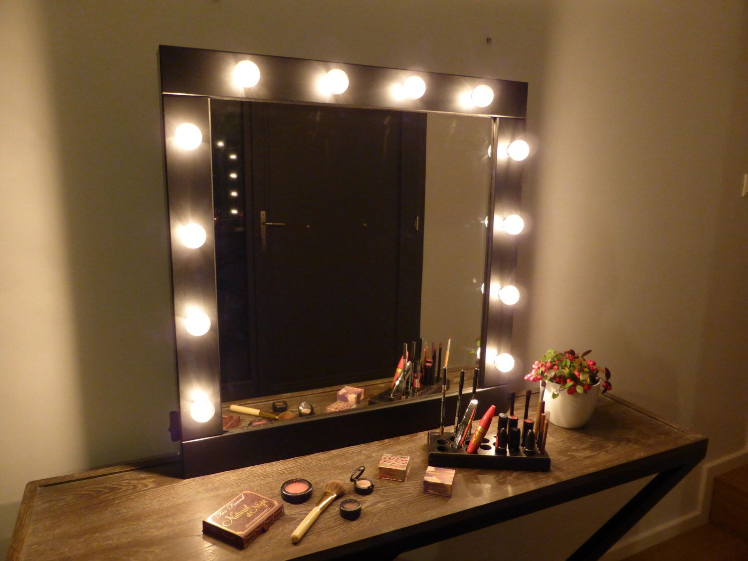 Vanity mirror with lights - makeup mirror wall hanging or stand alone -  Hollywood style mirror