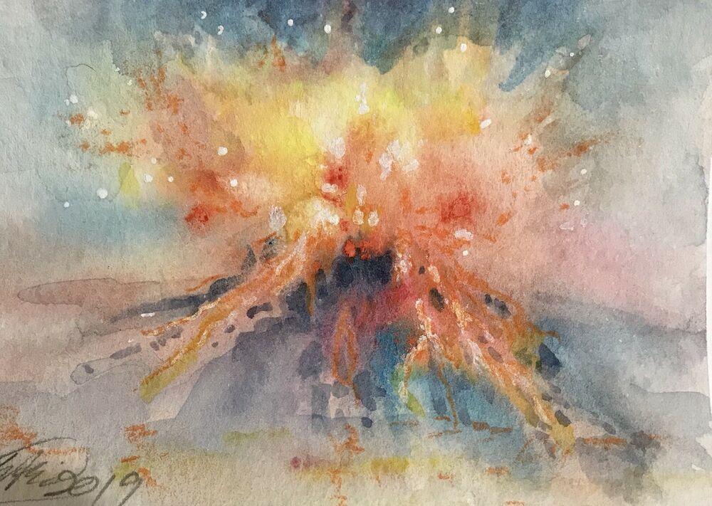 Aceo Original Painting Sunset Volcano Landscape Artwork Art From Artist Eaeh Usa Miniature Volcano Drawing Landscape Artwork Original Paintings