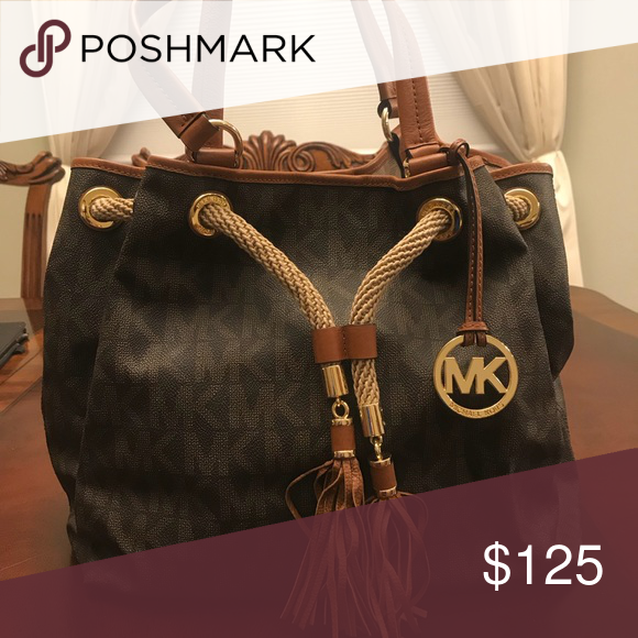 100 % Authentic Michael Kors Bag Brown MK logo tote bag with