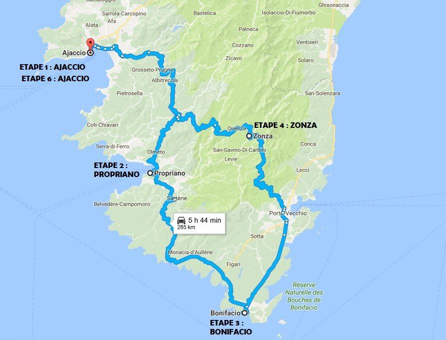 itinéraire circuit sud corse | Corse, Corse carte