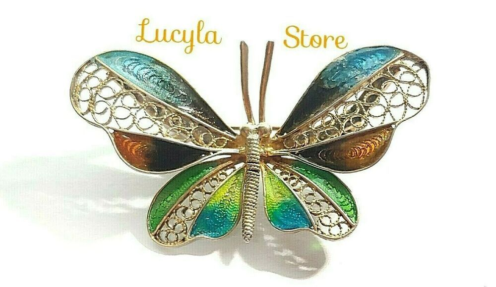 Italy 800 silver filigree plique a jour enamel butterfly