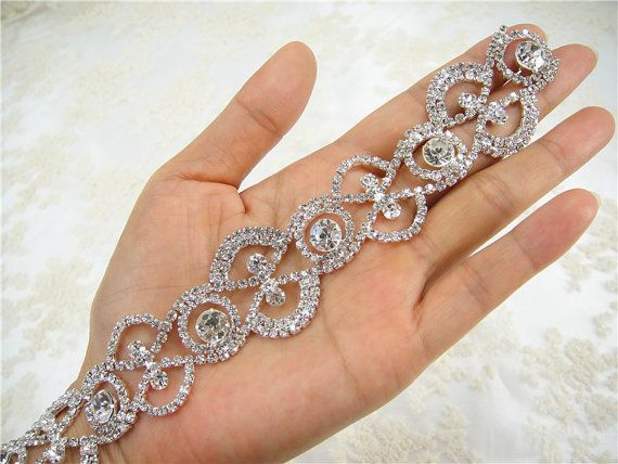 bridal hair piece bouquet accent wedding cake decoration bridal sash Rhinestone trim bridal belt dress embellishment
