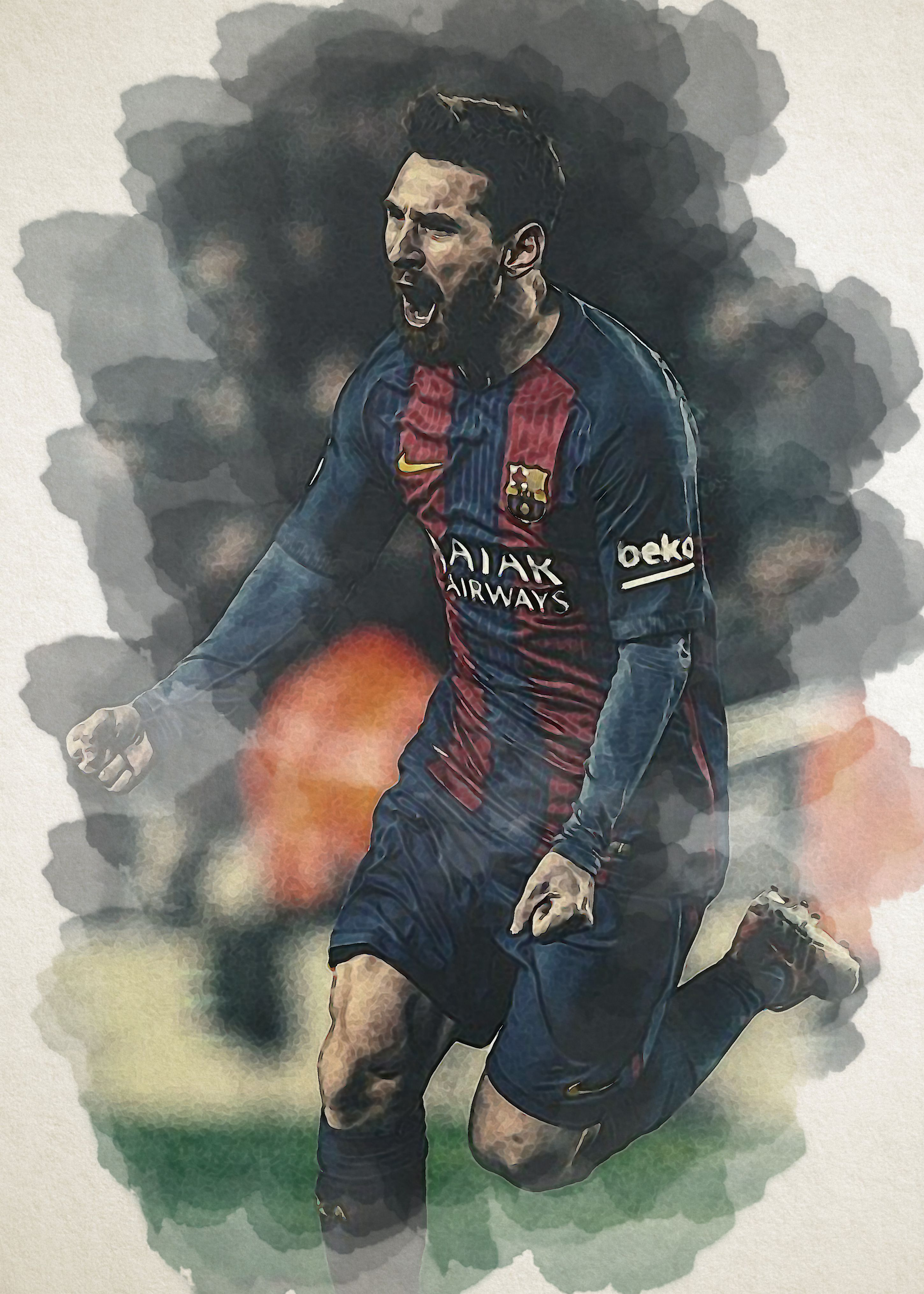 Lionel Messi Celebrate Pose Wall Poster Lionel Messi Football Paintings Messi Poster