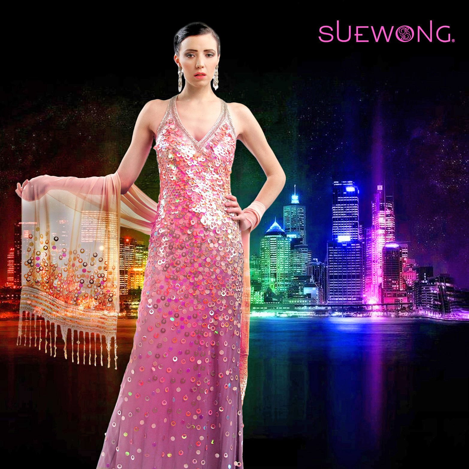 SUE WONG all-over sequined v-neck gown... #teamsuewong #suewong ...