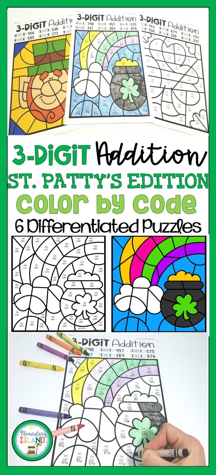 3-Digit St. Patrick\'s Day Addition Color by Code with and without ...