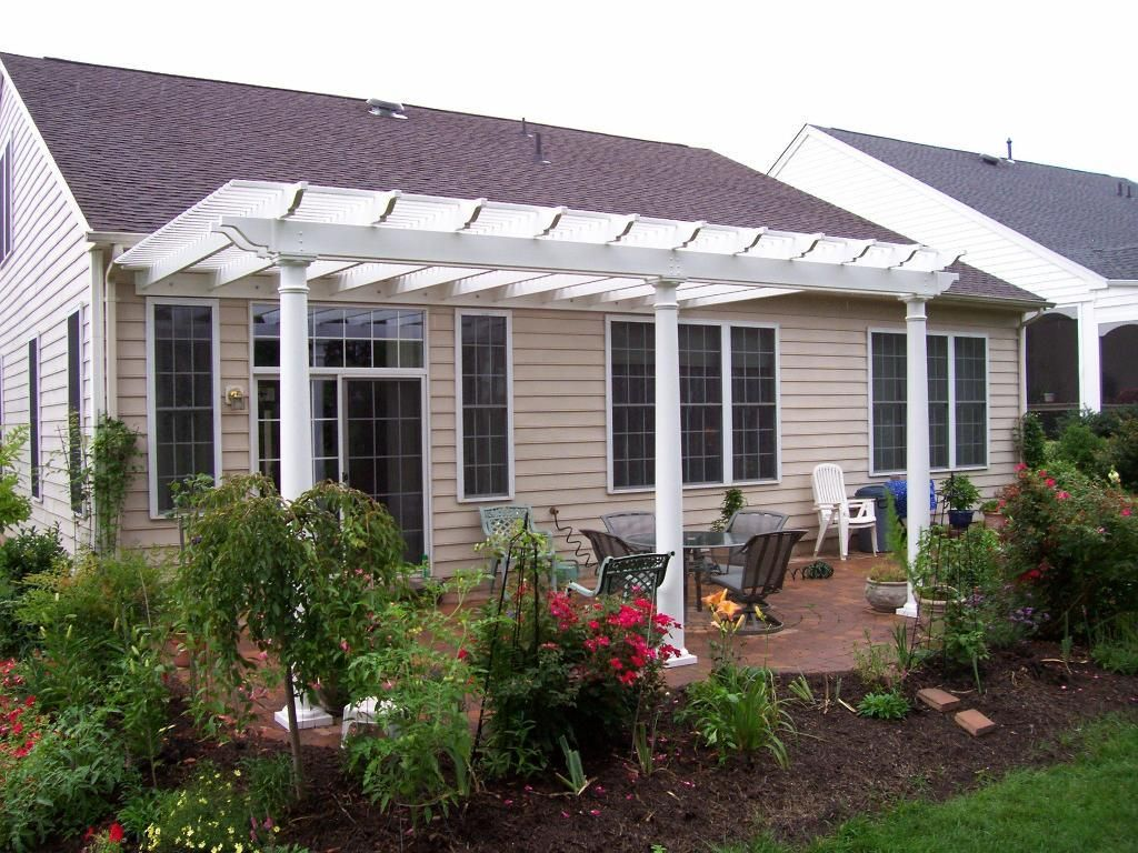 White vinyl pergola on patio