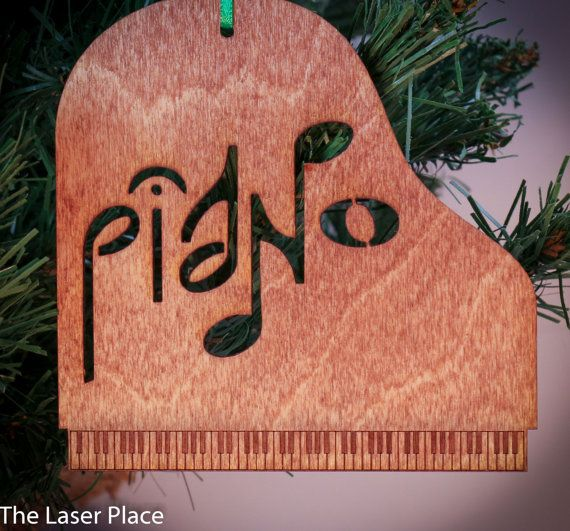Piano shaped music Laser Cut Ornament by TheLaserPlace on Etsy