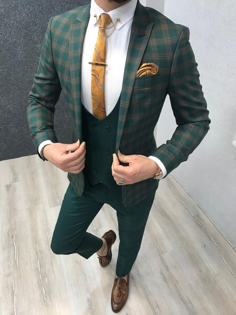 Buy green slim fit plaid suit by with free