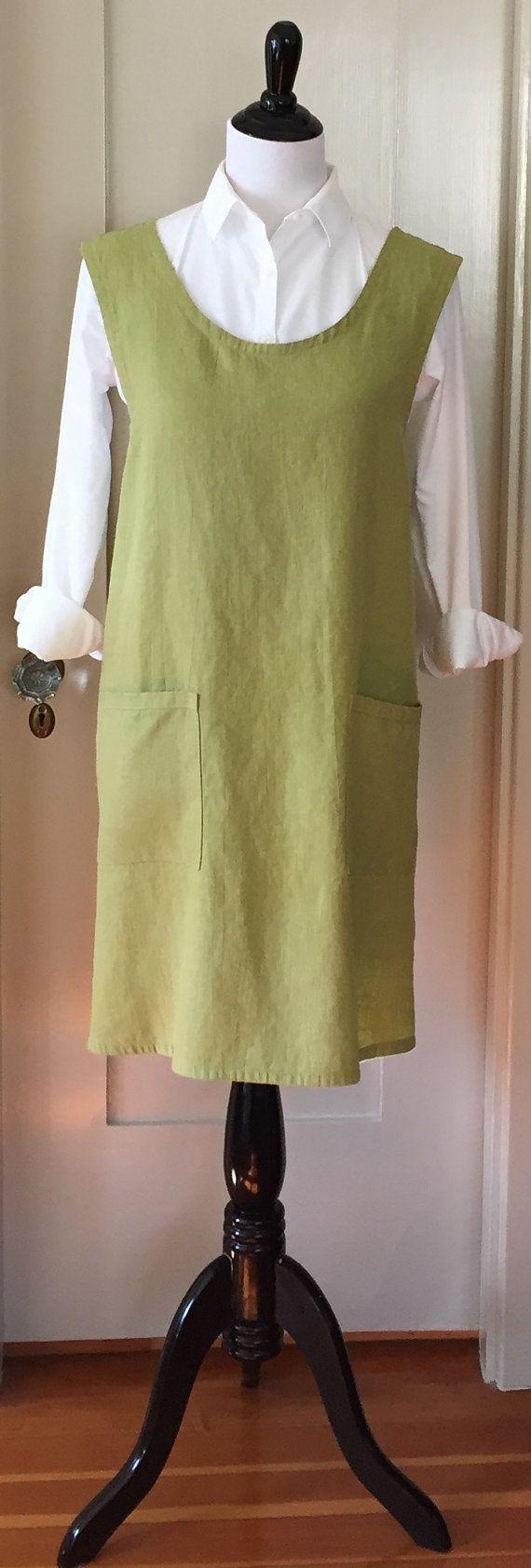 Washed Linen, Curved Cross Back, Japanese Apron, Smock