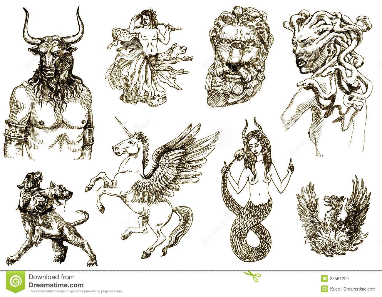 All Greek Mythology Creatures Creatures On An Old Sheet Of Paper