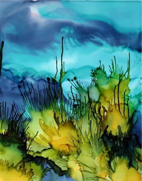 Sea Grasses Ai On Yupo 5 X 7 Aquarelle Et Encre Encres A L