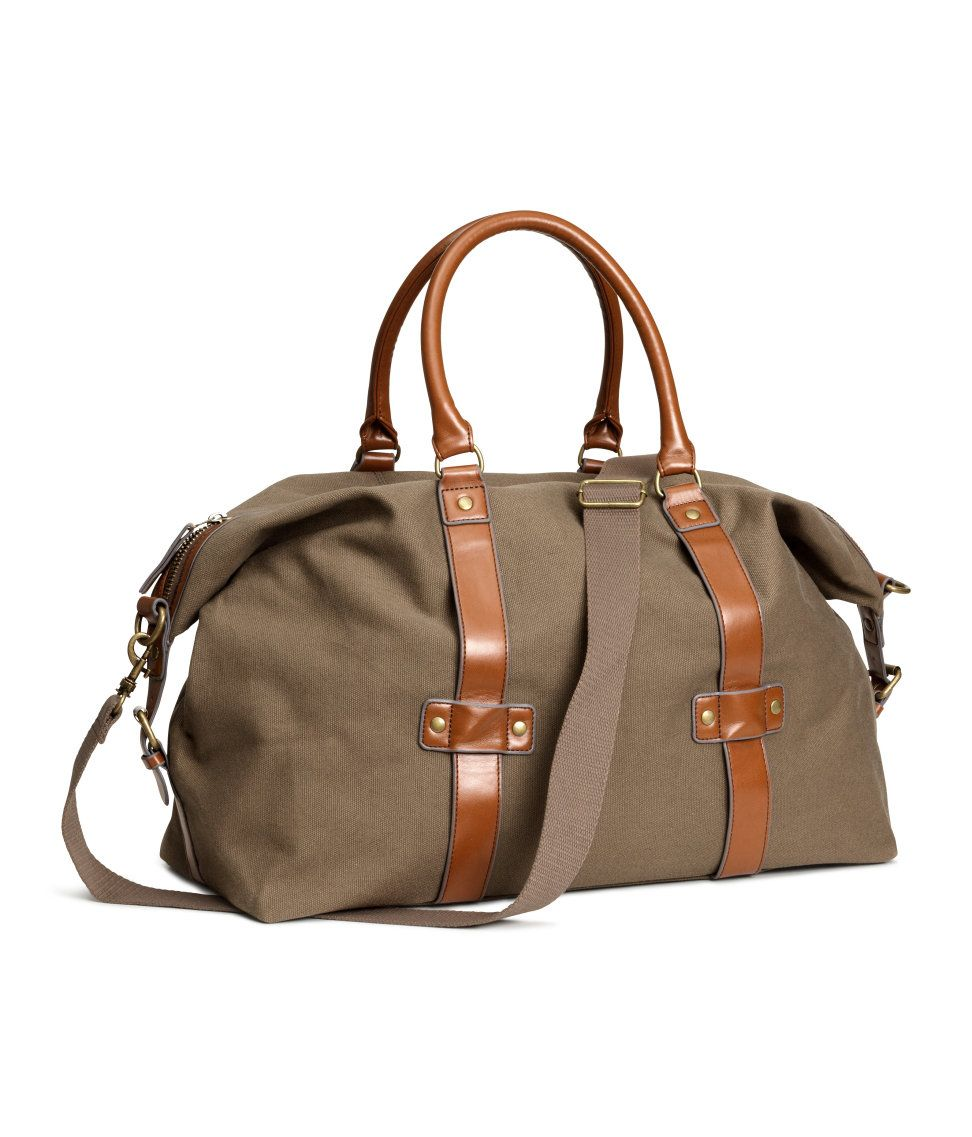 892ce3a4271b Dark beige cotton canvas weekend bag with faux leather handles