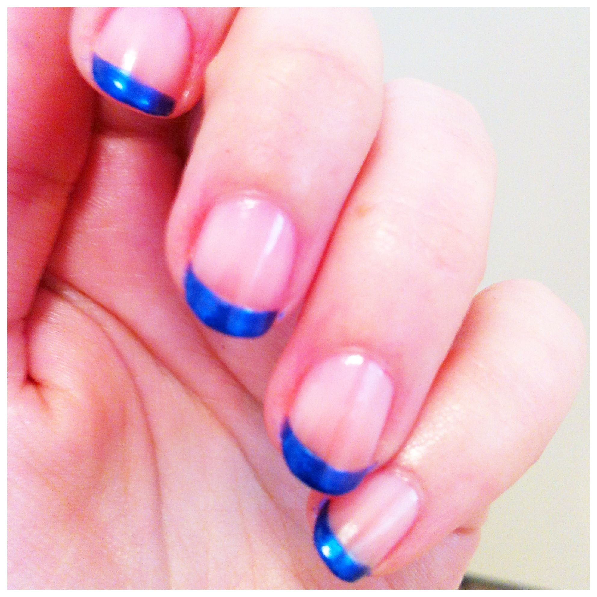 Blue Prom Nails French Tip: Bright Blue French Tips For Israel Independence Day
