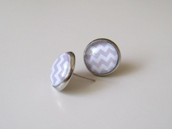 Grey and White Chevron  Earring studs  Silver by MyPoppyandWillow, $13.00
