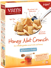 ff4309e680 Van s Natural Foods - Gluten Free Cereal Honey Nut Crunch - Van s NEW gluten  free Honey Nut Crunch cereal is packed with 19g of nutrient-rich whole  grains ...