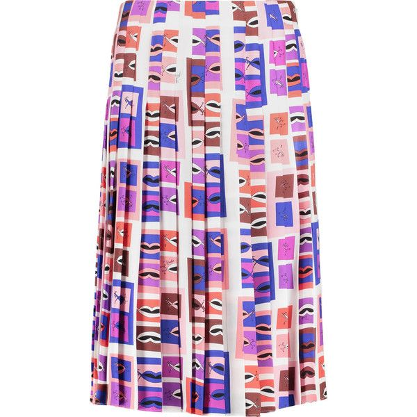 Shop on-sale EMILIO PUCCI Pleated printed crepe-paneled fil coupé skirt.  Browse other discount designer Knee Length & more on The Most Fashionable  Fashion ...