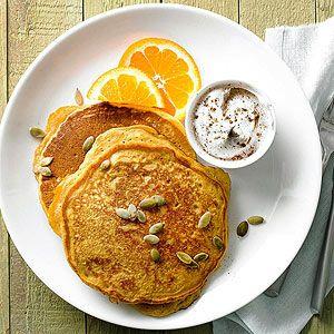 Pumpkin pancakes recipe weekend brunch breakfast - Better homes and gardens pancake recipe ...
