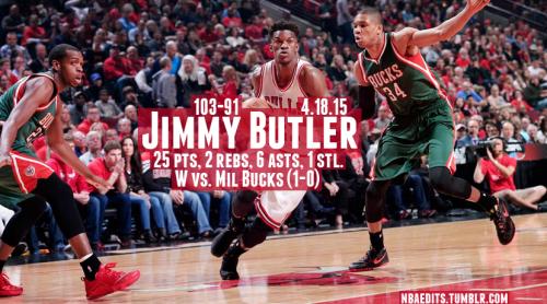 Jimmy Butler in Round 1 against the Bucks Playoffs2015