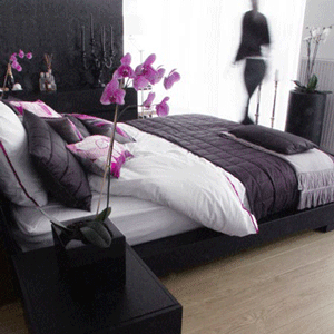 Black And White And Purple Bedroom purple black grey white bedroom. this bamboo colored flooring is