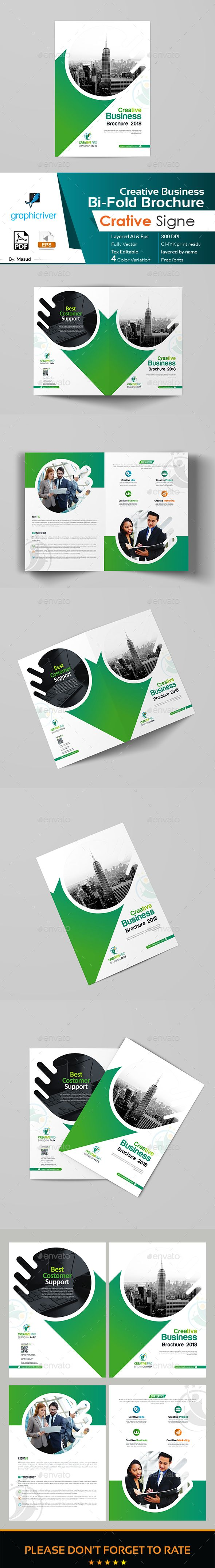Business bi fold brochure template vector eps ai for Bi fold brochure template illustrator