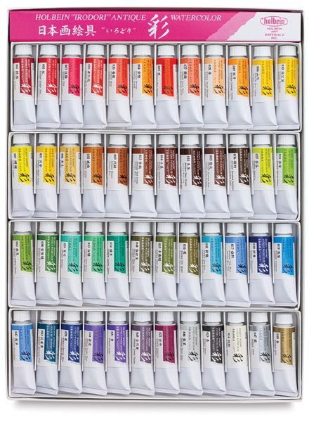 Holbein Irodori Antique Watercolors Set Of 48 Colors 15ml Tubes