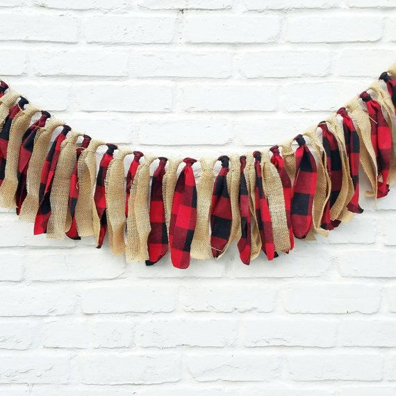 Lumberjack fabric garland. Lumberjack party, woodland party, photo prop, baby shower, camping, rustic nursery, buffalo plaid (only 1 avail)