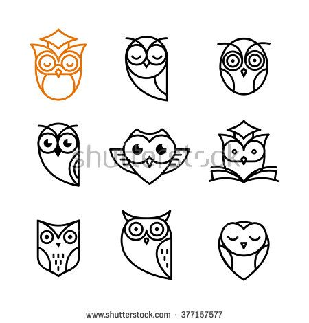 Owl Outline Icons Collection Simple Owl Tattoo Owl Tattoo Back Owl Tattoo
